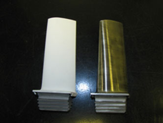 Turbine blade before and after Axial III SPS deposition of TBC
